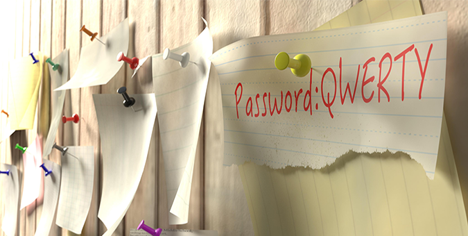 password notes on wall