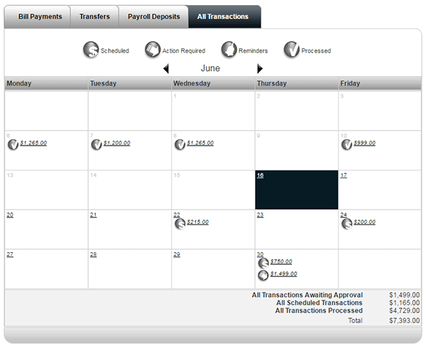 Payment calendar screenshot